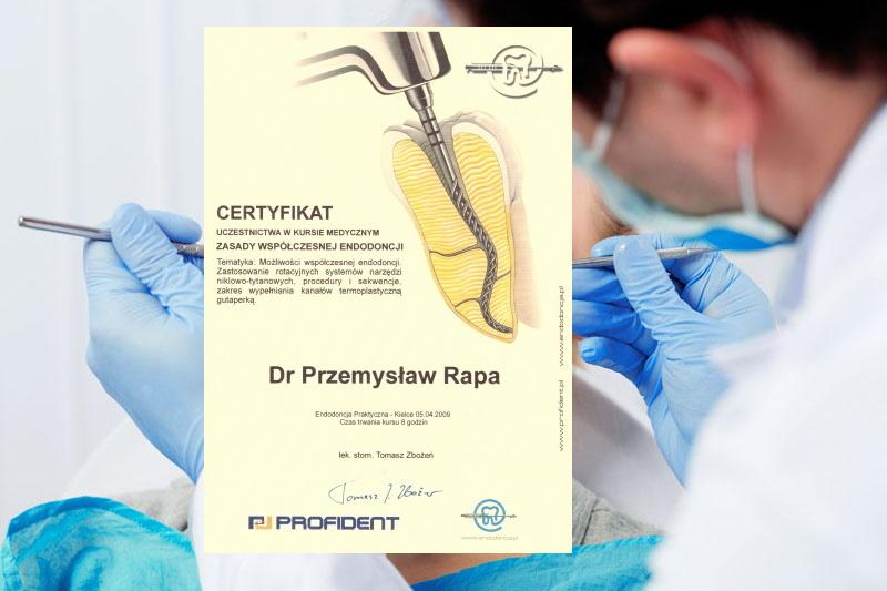 certyfikat leczenie kanałowe dla dr Przemysława Rapy